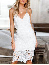 Plunging Neck Slip Lace Dress -