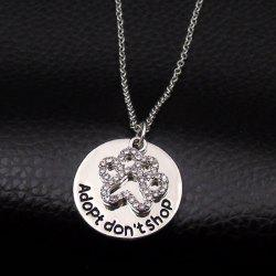 Silver cute rhinestone disc claw pendant necklace rosegal cute rhinestone disc claw pendant necklace aloadofball Gallery