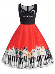 Plus Size Cat Piano Keyboard Print Sleeveless Dress -