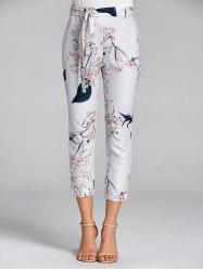 Floral Print Capri High Waisted Pants -
