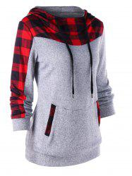 Drawstring Neck Plaid Trim Hoodie -