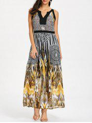 Round Leopard Print Sleeveless Maxi Dress -