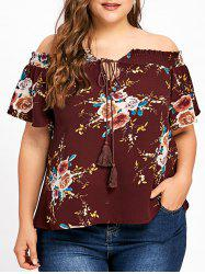 Plus Size Bohemian Floral Off The Shoulder Blouse -