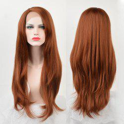 Long Side Parting Layered Straight Lace Front Synthetic Wig -