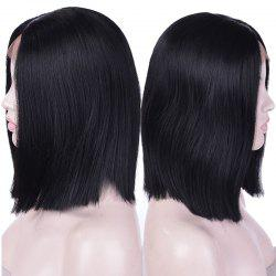 Short Center Parting Straight Synthetic Lace Front Wig -