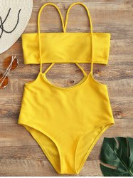 Strapless Top and High Rise Cami Swim Bottoms -