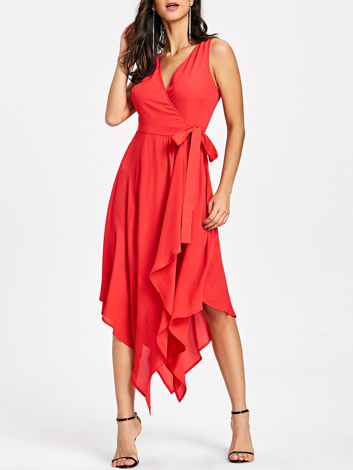 Latest Sleeveless Handkerchief Hem Flowy Dress
