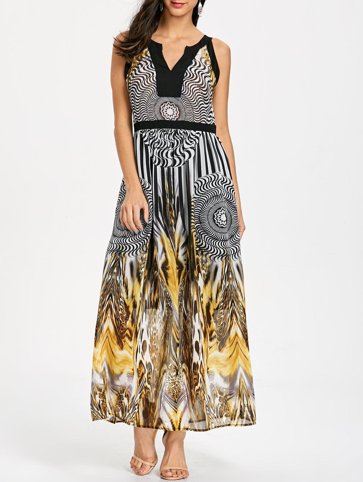 Discount Round Leopard Print Sleeveless Maxi Dress