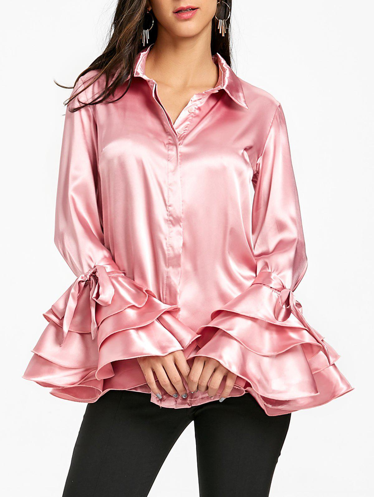 Unique Bell Layered Sleeve Tunic Satin Shirt