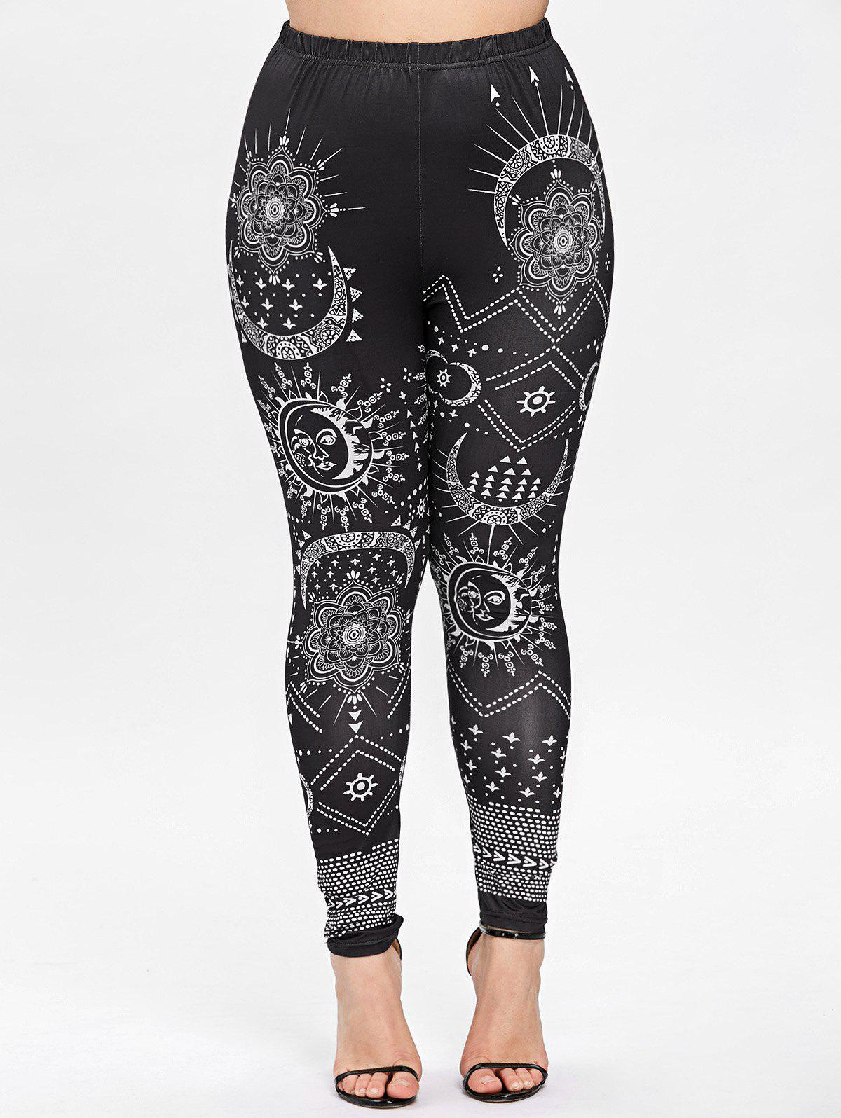 Cheap Plus Size Monochrome Ethnic Bandana Floral Leggings