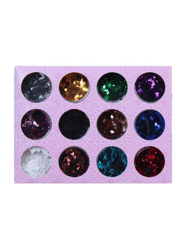 Shops 12 Colors 3D Rhombus Shape Nail Art Sequins Powder