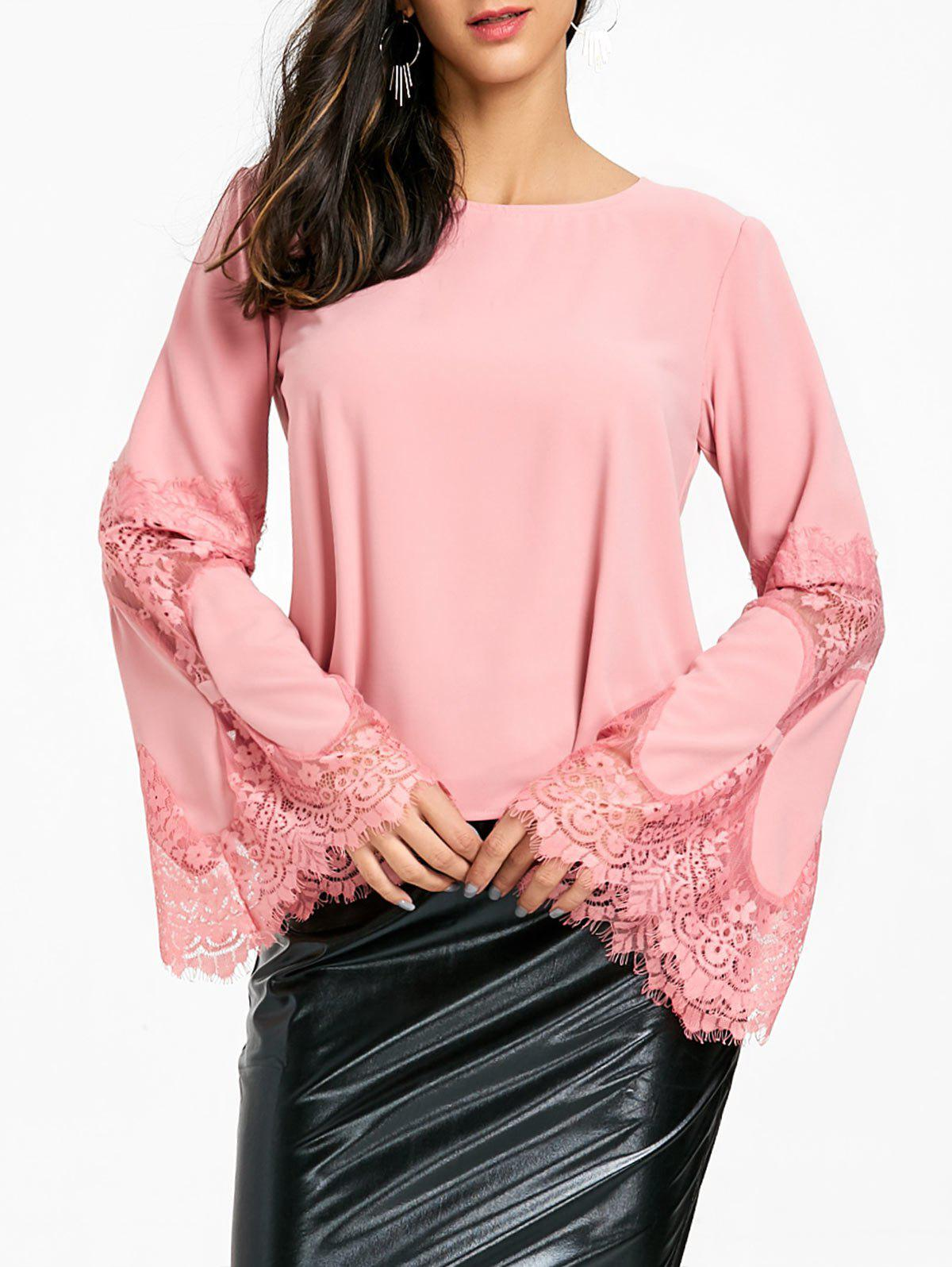 Hot Bell Sleeve Lace Insert Blouse