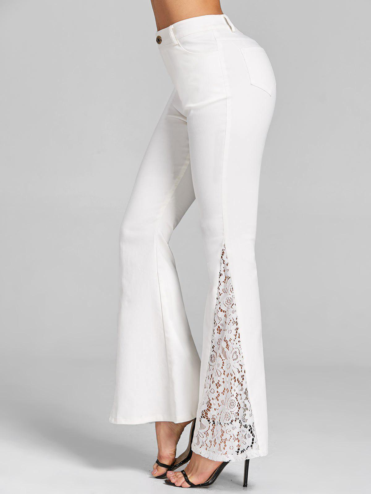 Buy Lace Trim Flare Pants