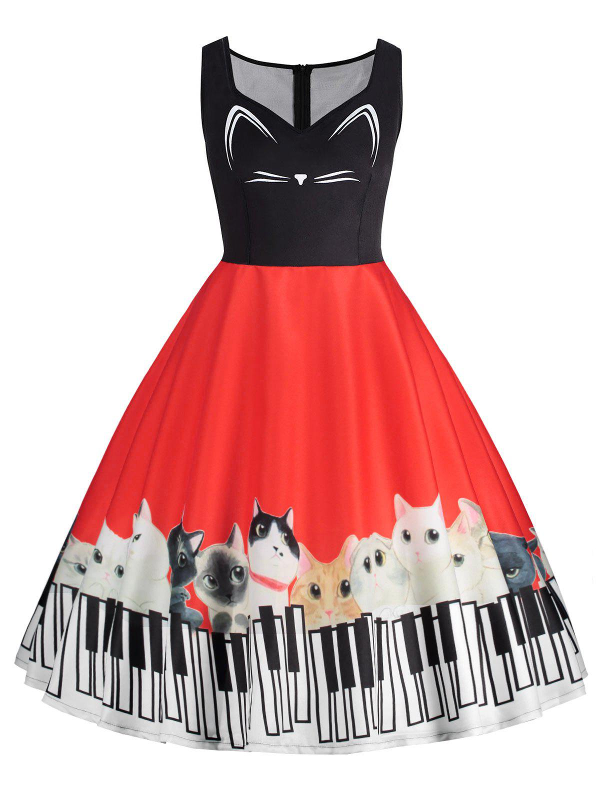 Cheap Plus Size Cat Piano Keyboard Print Sleeveless Dress