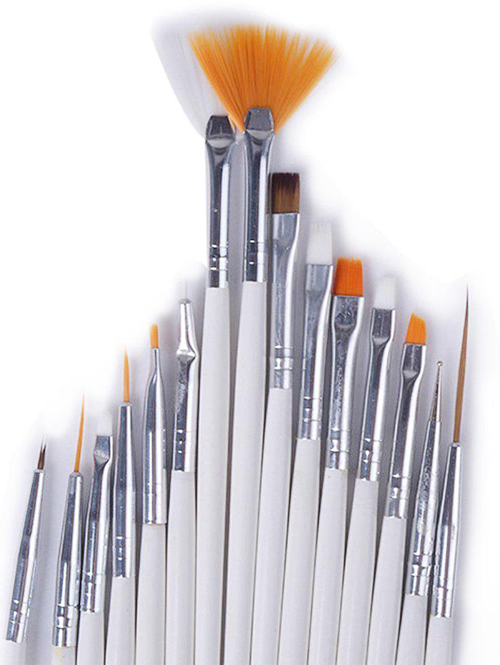 White 15pcs Manicure Brush Nail Art Painting Brush Set | RoseGal.com