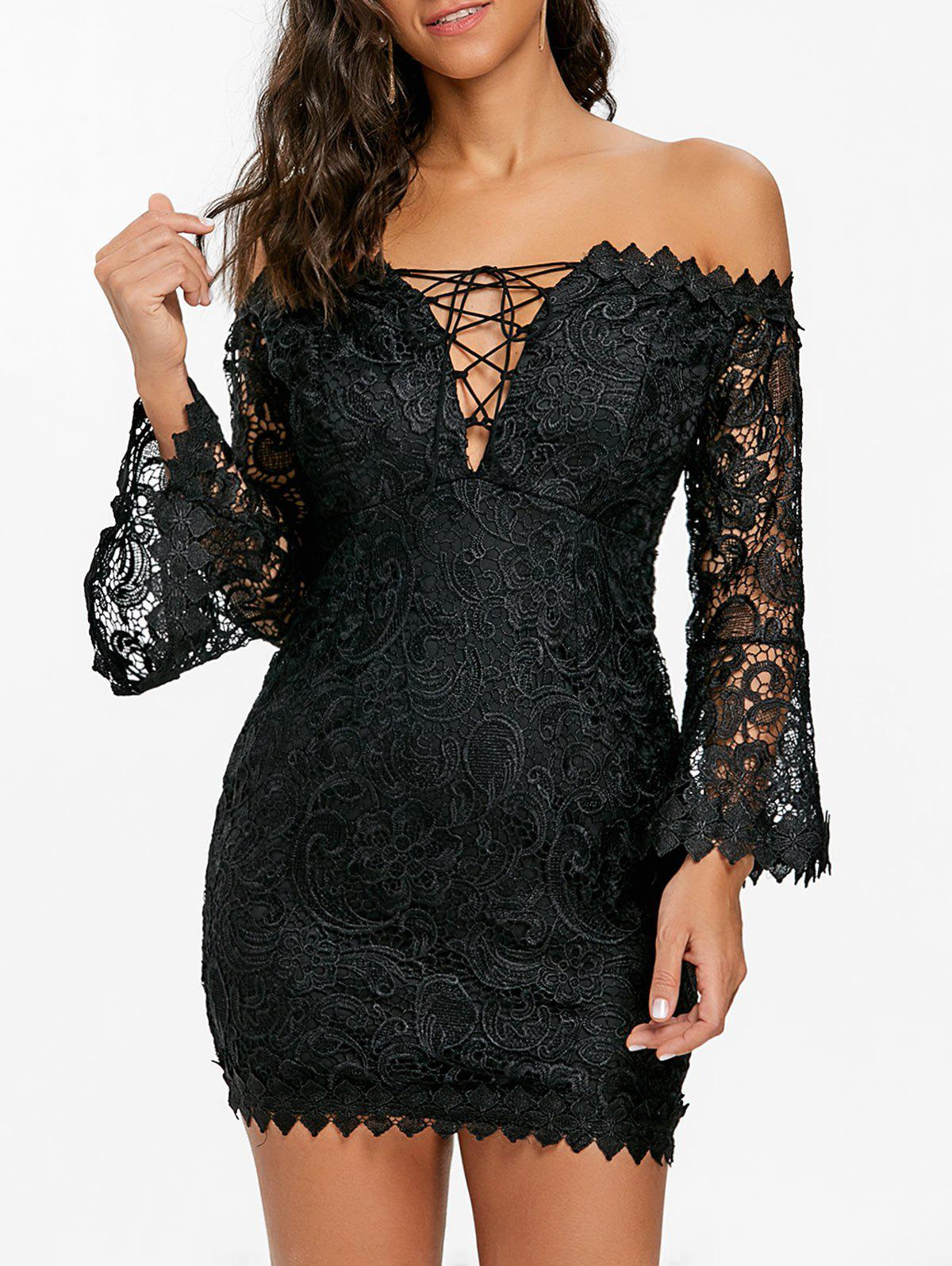 Buy Off The Shoulder Lace Mini Dress