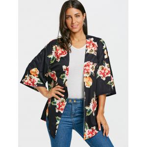 Floral Print Drop Shoulder Side Slit Cardigan -