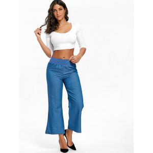 High Waisted Wide Leg Chambray Pants -