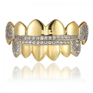 Rhinestone Top Bottom Hip Hop Teeth Grillz Set -