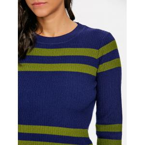 Ribbed Stripe Crew Neck Sweater -