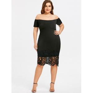 Plus Size Open Shoulder Lace Trimmed Dress -