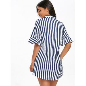 Stand Collar Stripe Bell Sleeve Tunic Top -