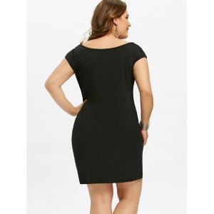Plus Size Ripped Chest Rhinestone Sheath Dress -