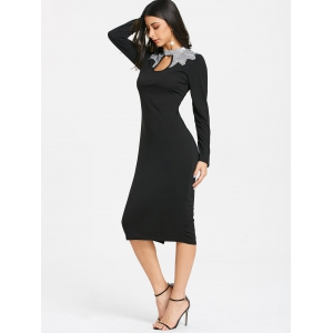 Sequins Keyhole Long Sleeve Pencil Dress -