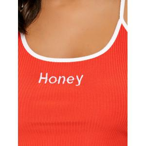 Honey Embroidery Crop Cami Top -