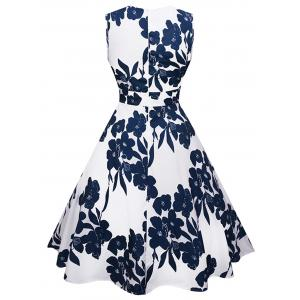Floral Print Sweetheart Neckline Sleeveless Flared Dress -