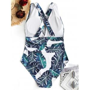 Palm Leaf Plus Size Crossed Swimsuit -
