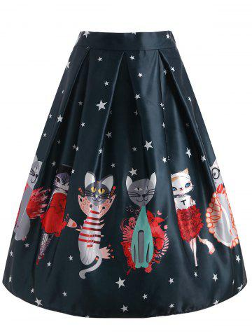 Hot Star Cartoon Cat Print Knee Length Skirt