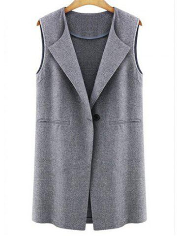 Chic Seam Pockets One Button Vest