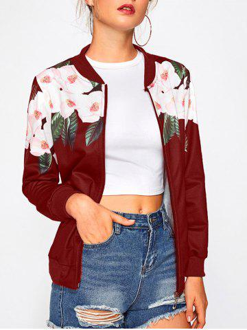 Long Sleeve Floral Insert Bomber Jacket - WINE RED - M