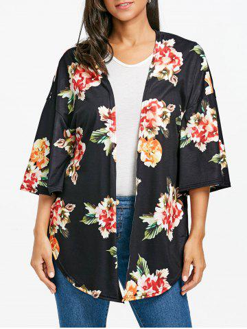 Chic Floral Print Drop Shoulder Side Slit Cardigan