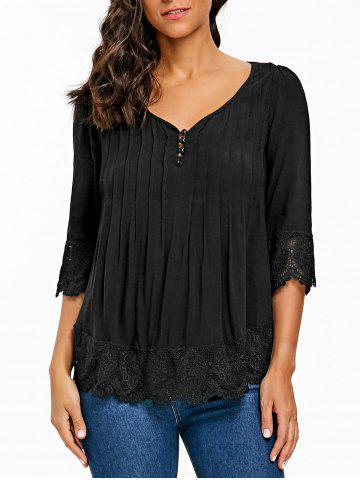 Affordable Pintuck V Neck Crochet Trimmed Blouse