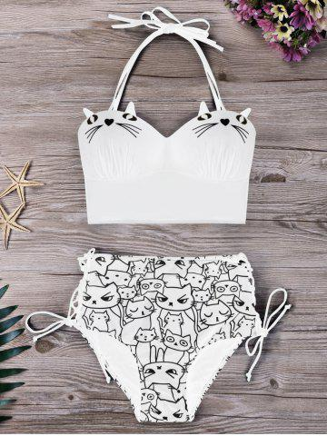 Shop Plus Size Cat Cartoon Bikini Set