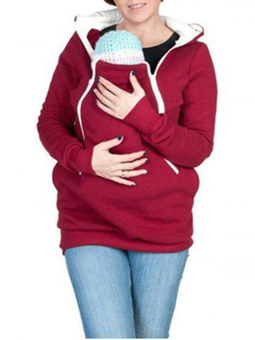 Affordable Zipped Pregnancy Hoodie with Baby Pouch