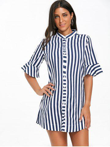 Stand Collar Stripe Bell Sleeve Tunic Top