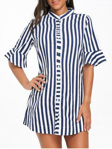 Discount Stand Collar Stripe Bell Sleeve Tunic Top