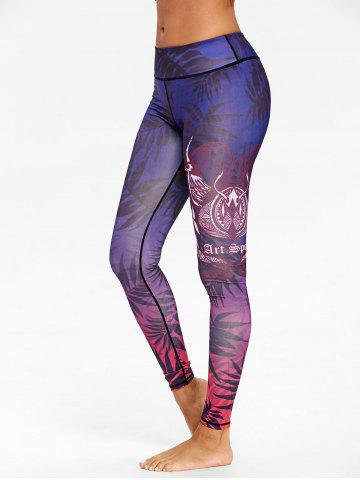 Outfit Ombre Leaf Print Skinny Workout Leggings