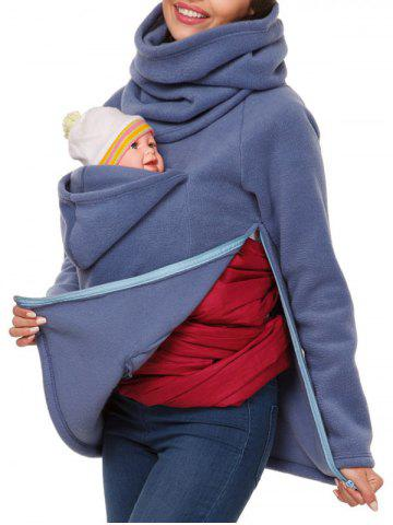 Cowl Neck Baby Holder Sweatshirt - BLUE - L