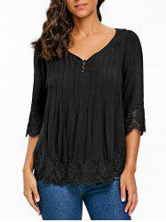 Pintuck V Neck Crochet Trimmed Blouse -