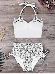Ensemble Bikini Imprimé Chat Cartoon Grande Taille -