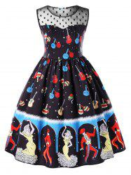 Plus Size Dancer Pattern Sleeveless Party Dress -