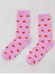 Pair Of Graphic Heart Valentine Socks -