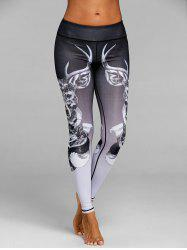 Skinny Elk Print Sports Leggings -