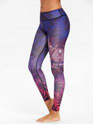 Ombre Leaf Print Skinny Workout Leggings -