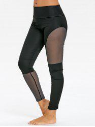 See Through Mesh Panel Workout Leggings -