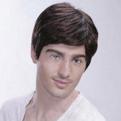 Men Short Inclined Bang Natural Straight Human Hair Wig -